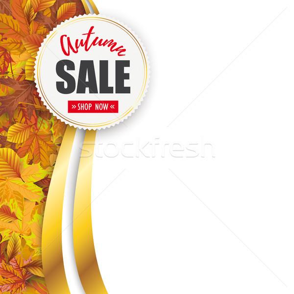 Autumn Sale Flyer Oblong Foliage Emblem Stock photo © limbi007