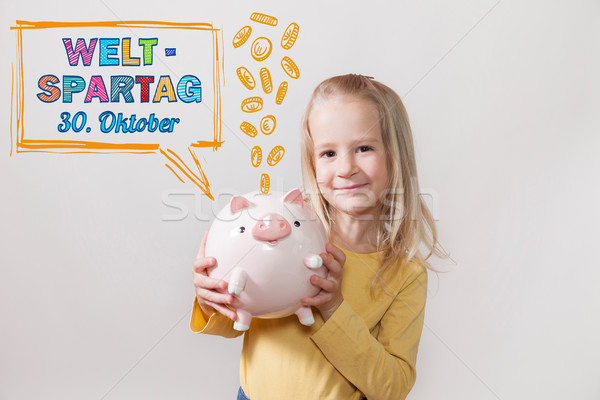 Blond Hair Girl Piggy Bank Weltspartag 30 Oktober Stock photo © limbi007