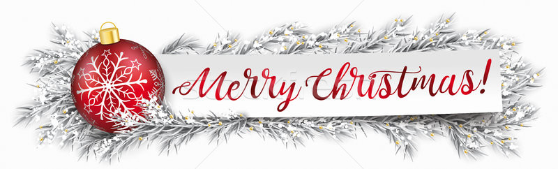 Paper Banner Bauble Frozen Twigs Merry Christmas Stock photo © limbi007