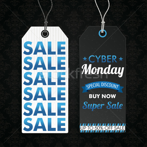 Two Long Price Stickers Cyber Monday Super Wallpaper Ornaments Stock photo © limbi007