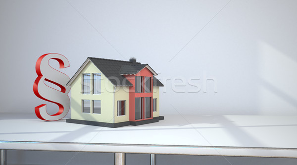 Haus Absatz Zimmer Tabelle 3D-Darstellung Recht Stock foto © limbi007