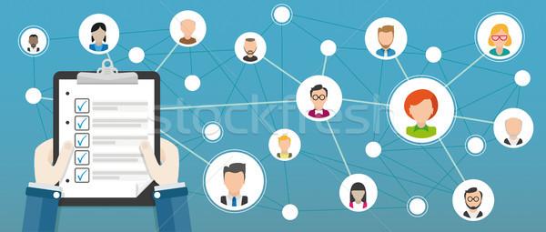 社会的ネットワーク チェックリスト 手 人間 顔 eps ストックフォト © limbi007