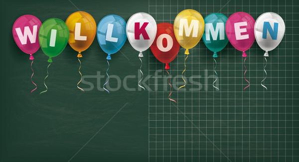 Blackboard Balloons Willkommen Stock photo © limbi007