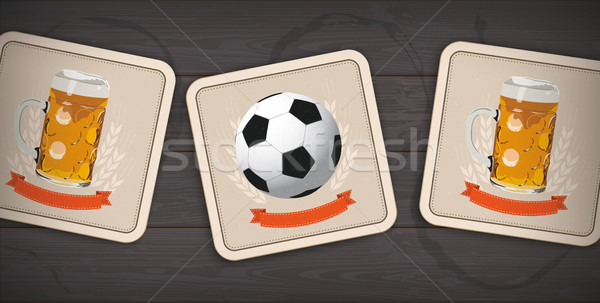 Stock photo: Dark Wooden Background 3 Beer Coasters Classic Football