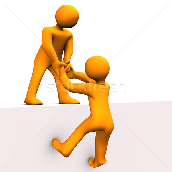 Ajudar ilustração 3d laranja amigo homem Foto stock © limbi007