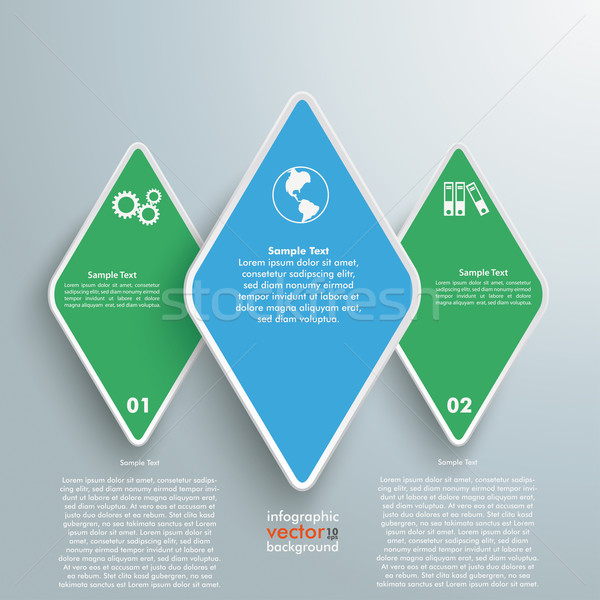 Three Rhombus Pieces Green Blue Infographic Stock photo © limbi007