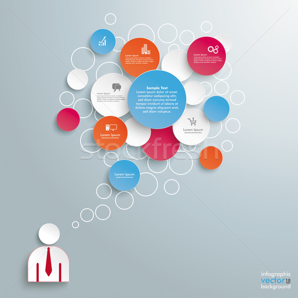 Colored Speech Bubble Circles Businessman Stock photo © limbi007