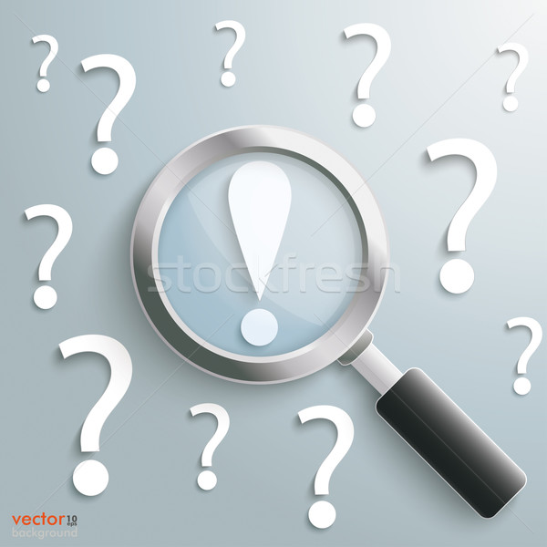 White Question Marks Loupe Exclamation Mark Stock photo © limbi007