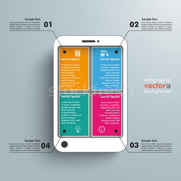 White Smartphone 4 Options Infographic Stock photo © limbi007