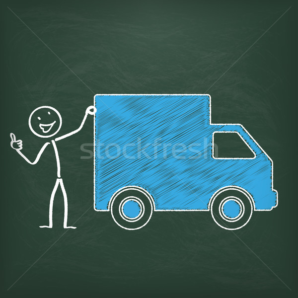 Blackboard Stickman Shipment Car Ok Stock photo © limbi007