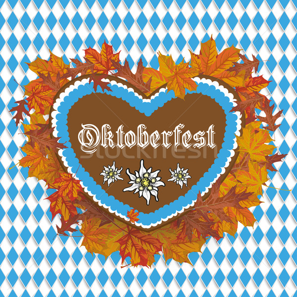 Oktoberfest Flyer Banner Gingerbread Heart Foliage Stock photo © limbi007