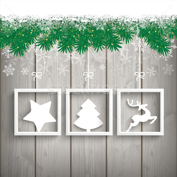 Snow Fir Twigs Wood Laths 3 Frames Stock photo © limbi007