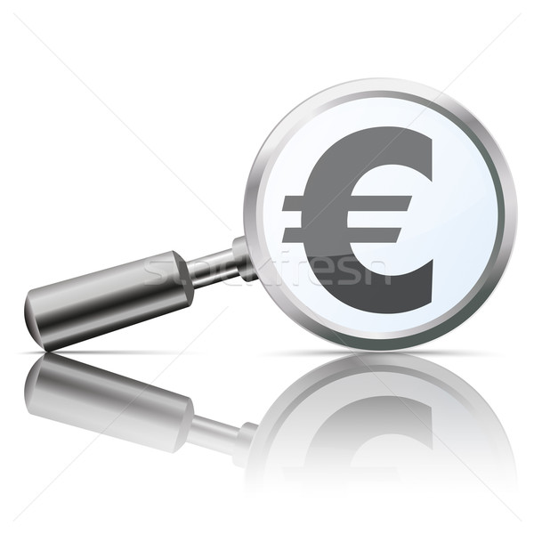 Foto stock: Lupa · espelho · euro · símbolo · branco · eps
