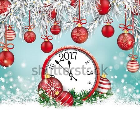 Saat Noel hediye star siyah ahşap Stok fotoğraf © limbi007