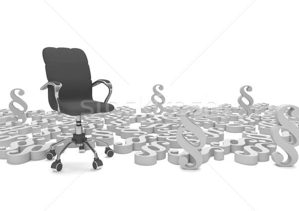 Stock foto: Sessel · grau · 3D-Darstellung · Recht · Stuhl · Stein