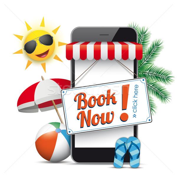 Smartphone Shop Marquee Book Now Sun Flip-Flops Stock photo © limbi007