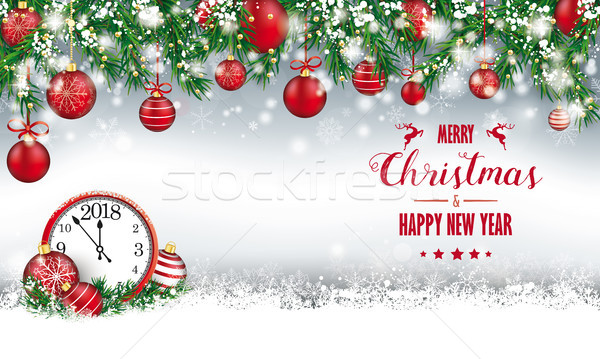 Merry Christmas Header Green Twigs Snow Baubles Clock 2018 Stock photo © limbi007