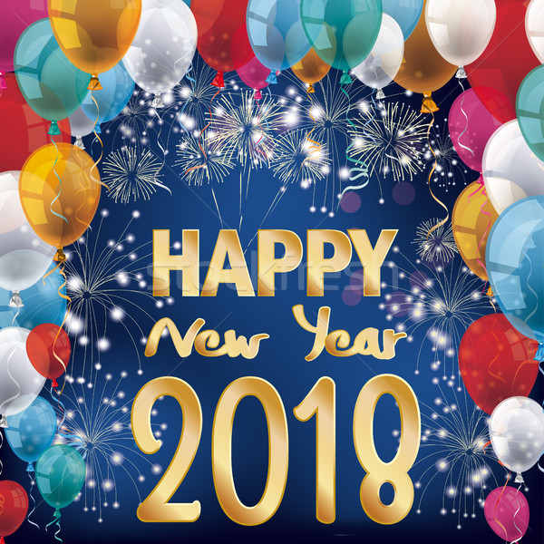 Fireworks Balloons Banner Happy New Year 2018 Stock photo © limbi007
