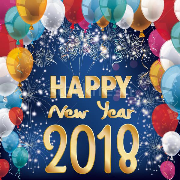Fajerwerków balony banner szczęśliwego nowego roku kolorowy niebieski Zdjęcia stock © limbi007