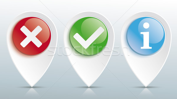 Yes No Info Tick Pointer Colored Glossy Buttons Header Stock photo © limbi007