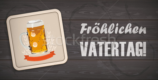 Dark Wooden Background Beer Coaster Vatertag Stock photo © limbi007