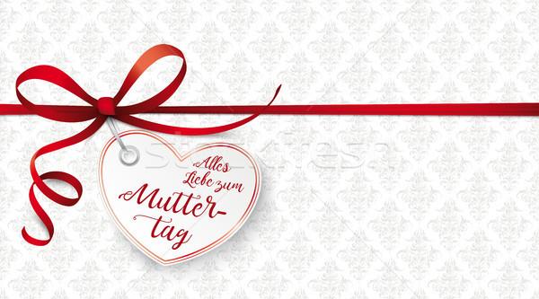 Red Ribbon Ornaments Heart Muttertag Stock photo © limbi007