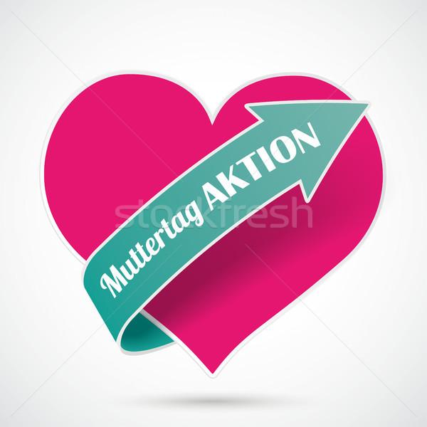 Pink Heart Muttertag Aktion Stock photo © limbi007
