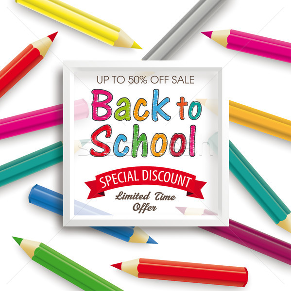 Colored Pencils White Frame Back to School Discount Stock photo © limbi007