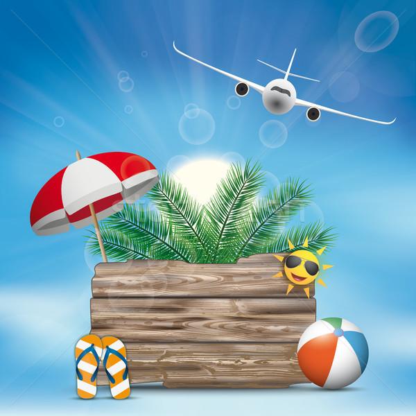 Sky Clouds Sun Wooden Board Flip-Flops Sunshade Palm Plane Stock photo © limbi007