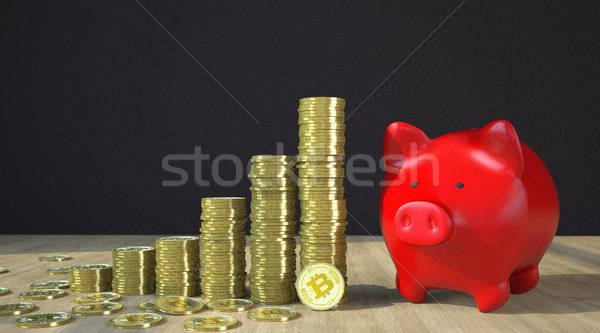 Bitcoins Growth Chart Piggy Bank Stock photo © limbi007
