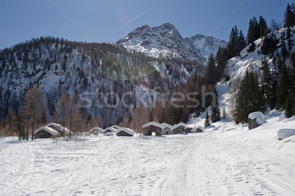 Eski dağ köy küçük taş evler Stok fotoğraf © limpido