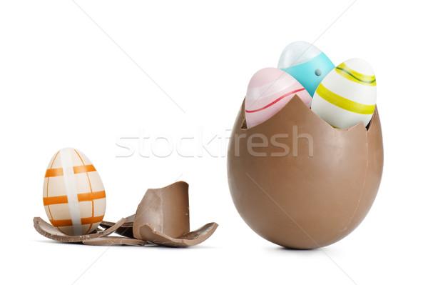 Сток-фото: пасхальное · яйцо · шоколадом · сломанной · Весы · белый · Пасху