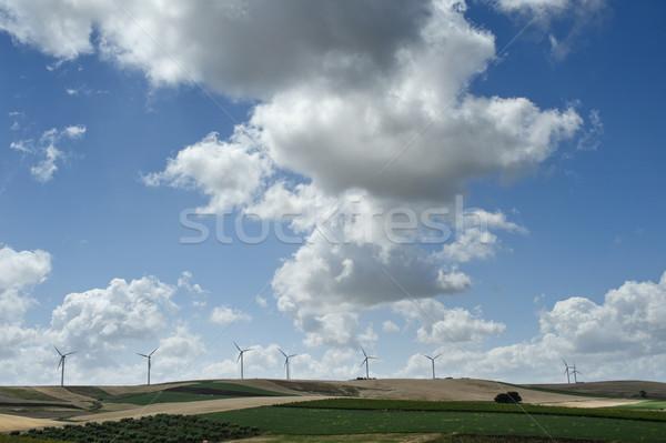 ветровой турбины пейзаж энергии облаке власти Сток-фото © limpido