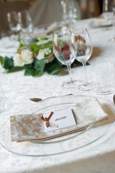 меню пластина ресторан таблице цветы интерьер Сток-фото © limpido