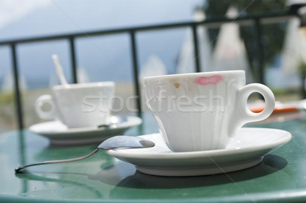 Kahve fincanı fincan kahve kırmızı ruj bar Stok fotoğraf © limpido