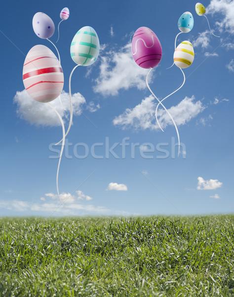 Paskalya yumurtası renkli uçan bahar manzara gıda Stok fotoğraf © limpido