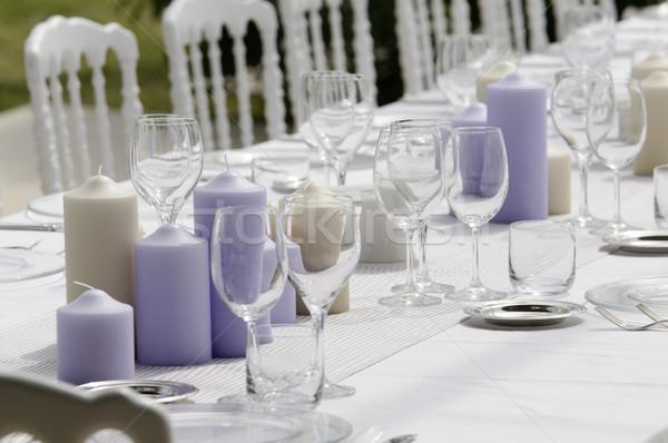Düğün tablo ayarlamak açmak parti restoran Stok fotoğraf © limpido