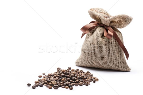 Kahve çekirdekleri çanta kahve beyaz karanlık doğal Stok fotoğraf © limpido