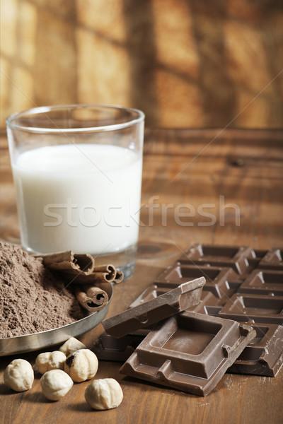 Chocolat ingrédients poudre cannelle noix Photo stock © limpido