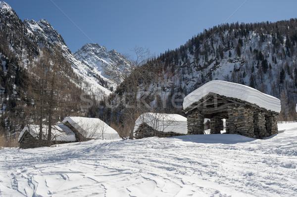 горные пейзаж старые каменные домах небе Сток-фото © limpido