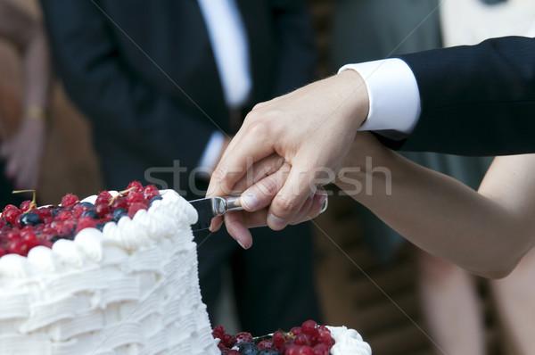 Düğün pastası gelin damat kesmek düğün gül Stok fotoğraf © limpido
