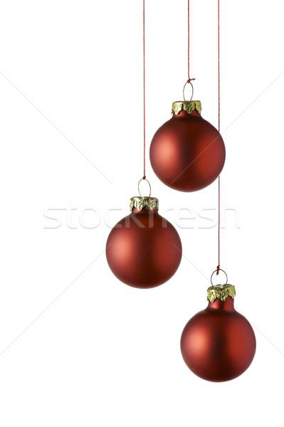 Noel kırmızı yalıtılmış beyaz cam Stok fotoğraf © limpido
