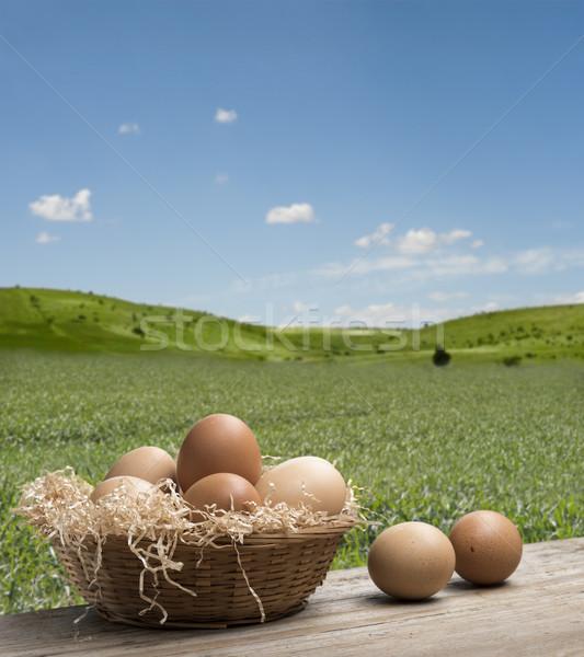 яйца корзины группа соломы деревянный стол лет Сток-фото © limpido