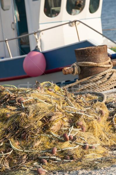 Balık tutma yukarı iskele balık çalışmak deniz Stok fotoğraf © limpido