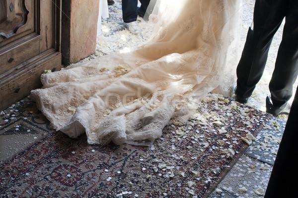 Stok fotoğraf: Düğün · gelin · damat · çıkmak · aile · iç