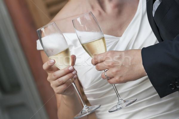 Сток-фото: шампанского · невеста · жених · свадьба · тоста · вино