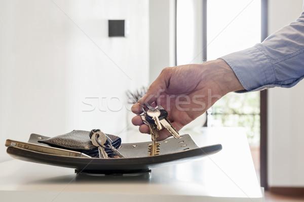Tuşları adam kişisel tepsi el Stok fotoğraf © limpido