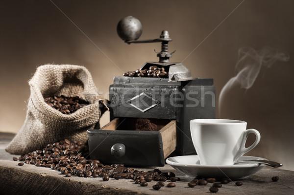 Stok fotoğraf: Kahve · öğütücü · sıcak · fincan · kahve · çekirdekleri · çanta