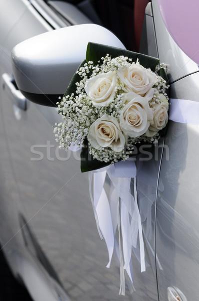 Buket çiçekler düğün araba evlilik beyaz Stok fotoğraf © limpido
