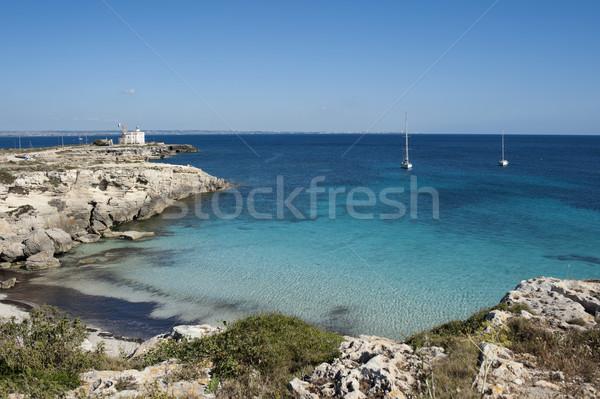Сток-фото: синий · морем · красивой · небольшой · пляж · небе